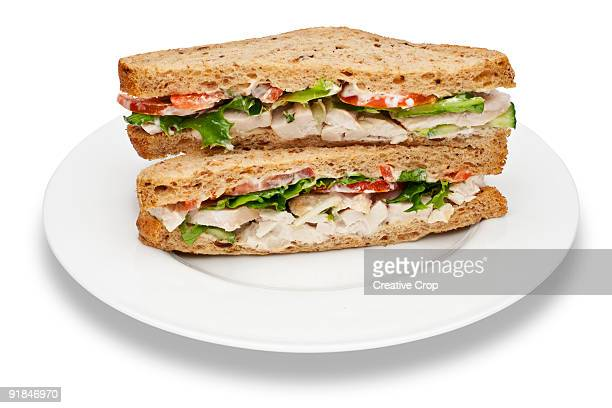 plate of chicken salad sandwiches - sandwich stock pictures, royalty-free photos & images