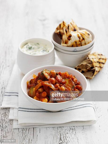 Plate of chickpea stew and bread