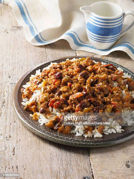 Plate of chili con carne and rice