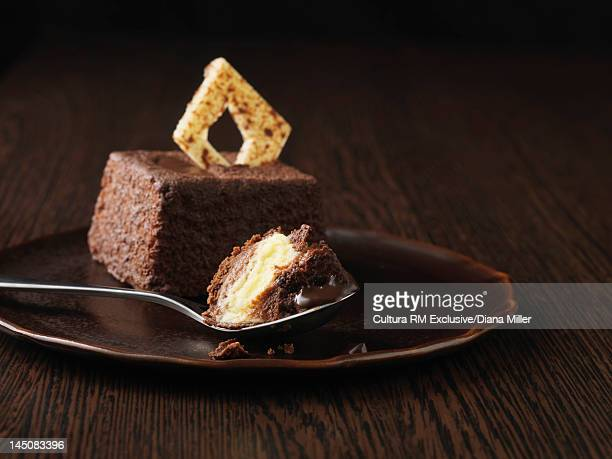 Plate of chocolate cake on wooden table