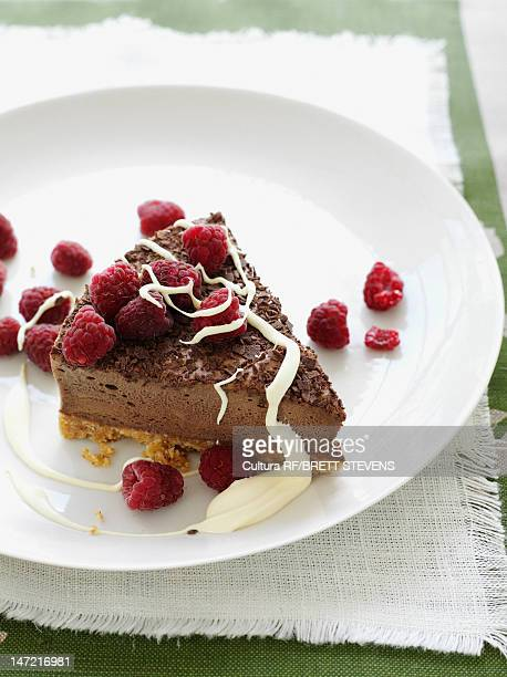 Plate of chocolate cake with berries