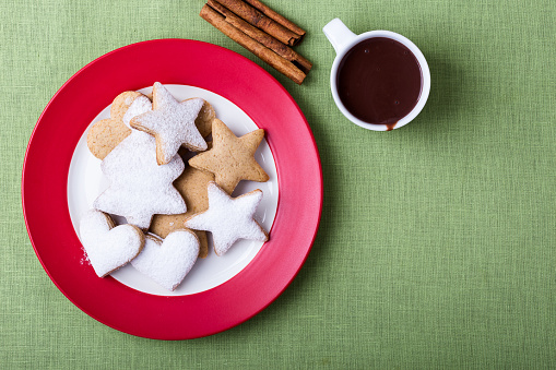 Plate of Christmas cookies and cup of hot chocolate - gettyimageskorea