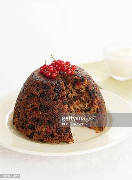 Plate of Christmas pudding