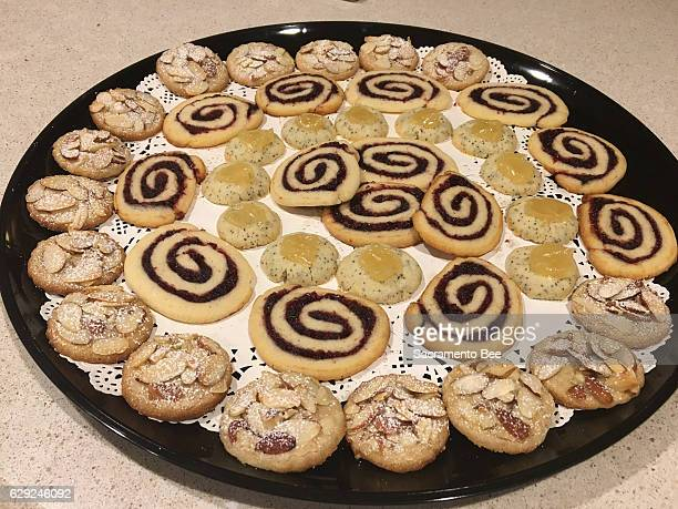 chai spice almond rounds cranberry cherry swirls and lemon poppy seed thumbprints