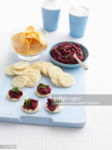 Plate of crackers with pate topping