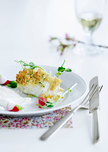 Plate of crusted fish