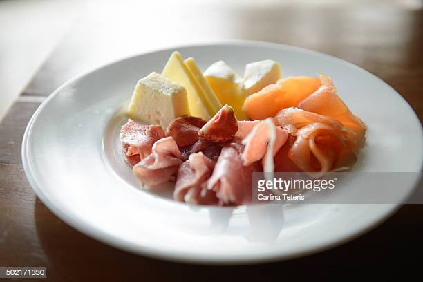 Plate of cured meat and cheese