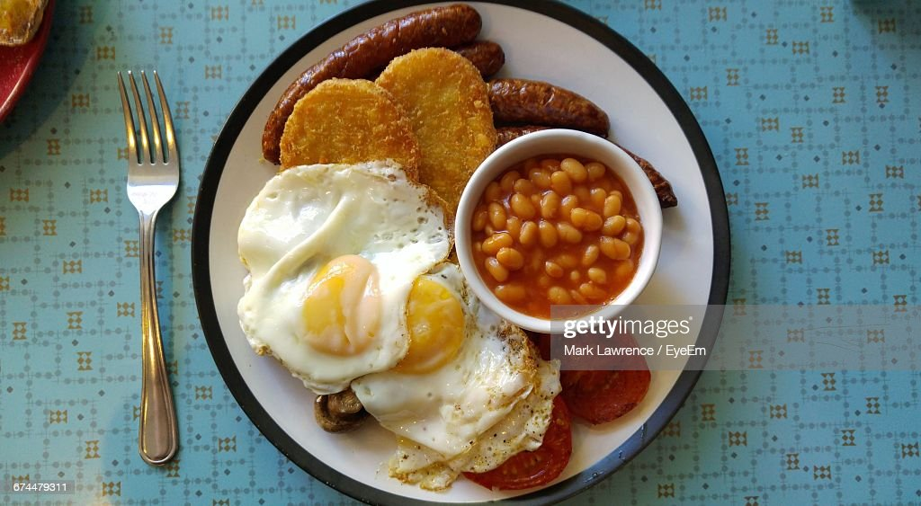 Plate Of English Breakfast On Table : Stock Photo