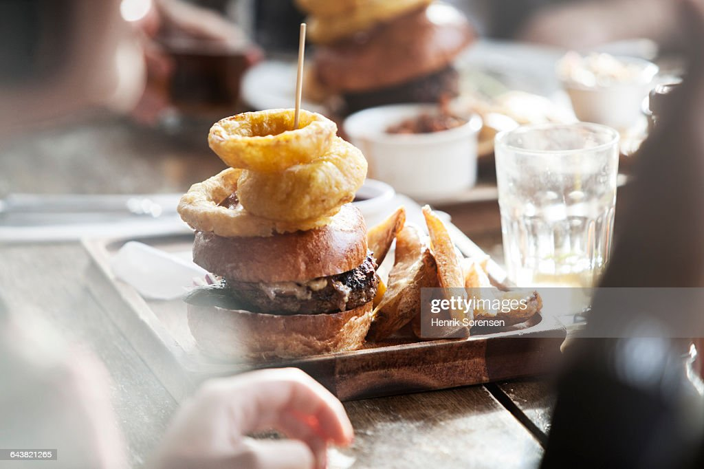 Plate of food in a pub : Stock Photo