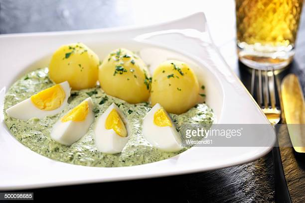 Plate of Frankfurt green sauce with boiled potatoes and egg