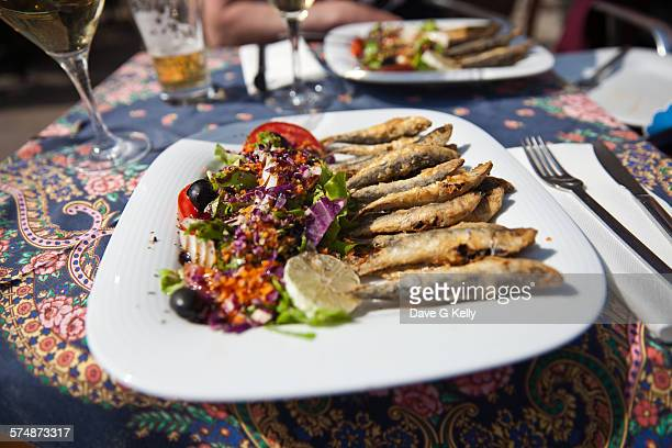 Plate of Fried Sardines and Mixed Salad