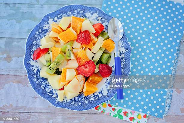 plate of fruit salad, close-up