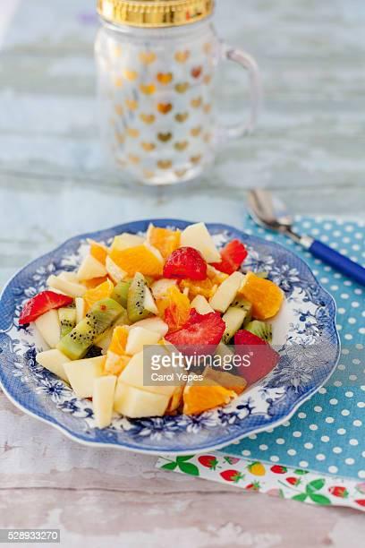 plate of fruit salad, close-up