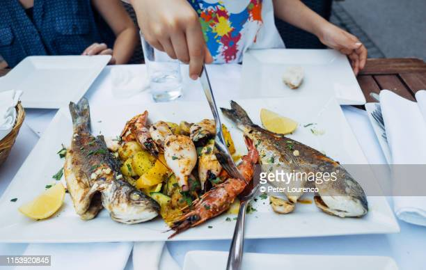 plate of grilled seafood - peter lourenco stock pictures, royalty-free photos & images