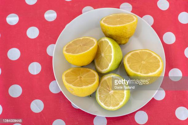 a plate of halved lemons on a red polka dot background - dorte fjalland fotografías e imágenes de stock