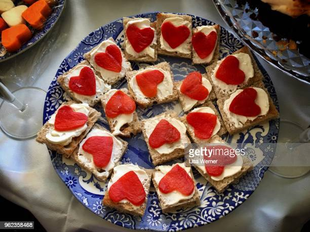 Plate of heart shaped appetizers