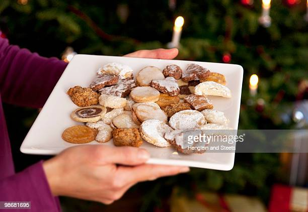 plate of homemade christmas biscuits