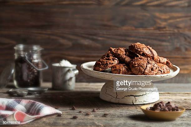 A plate of homemade double chocolate espresso cookies