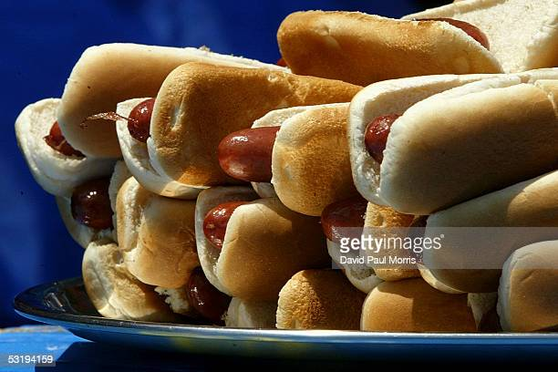 A plate of hot dogs sit on a table at the annual Fourth of July International Hot Dog Eating Contest at Coney Island July 4 2005 in the Brooklyn...