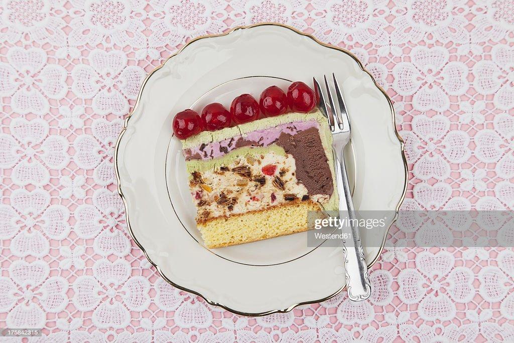 Plate of ice cream cake : Stock Photo