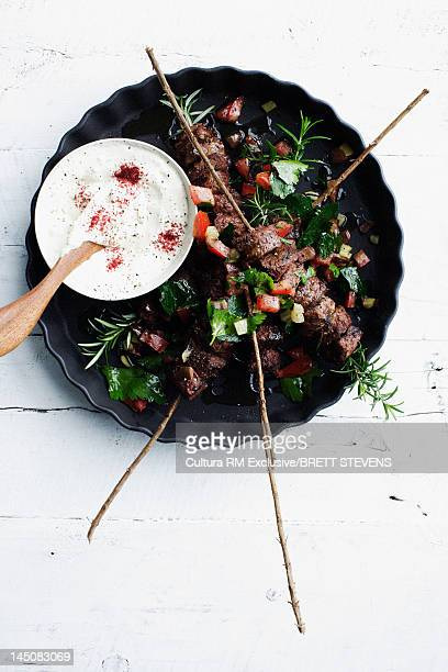 Plate of lamb rosemary skewers