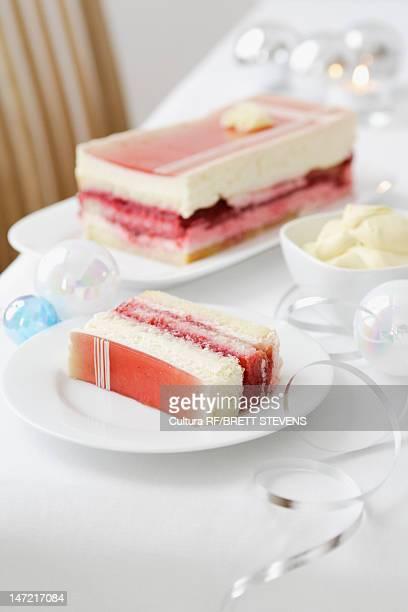 Plate of layered dessert