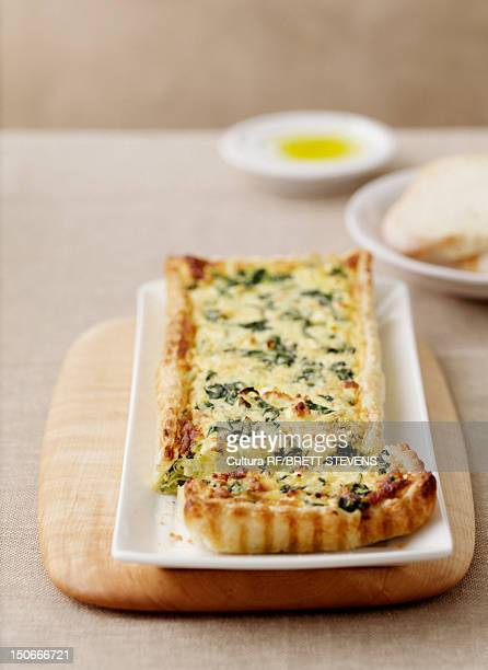 Plate of leek and spinach tart
