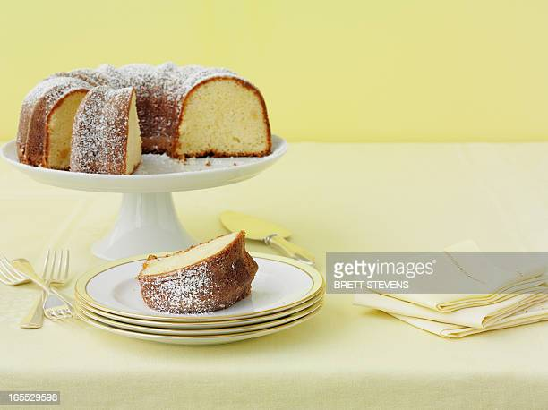 Plate of lemon cake with sugar