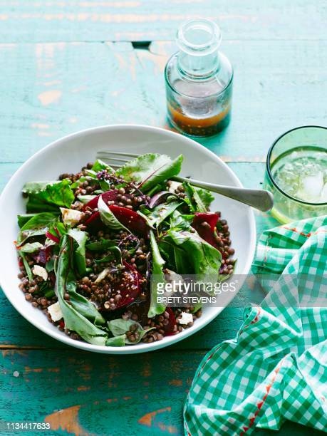 plate of lentil, beetroot and feta salad - lentil stock pictures, royalty-free photos & images
