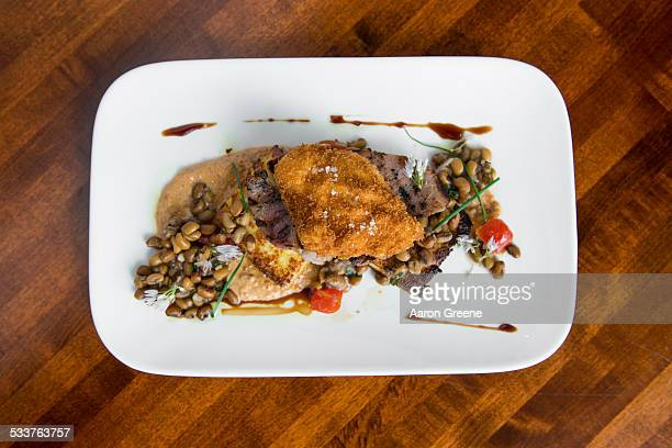 Plate of meat and legumes