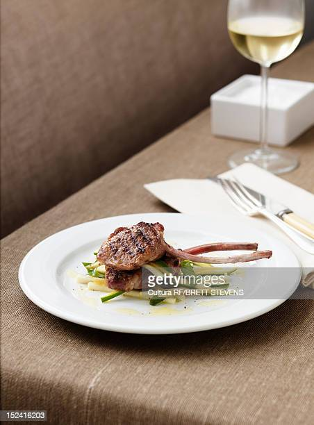 Plate of meat with salad
