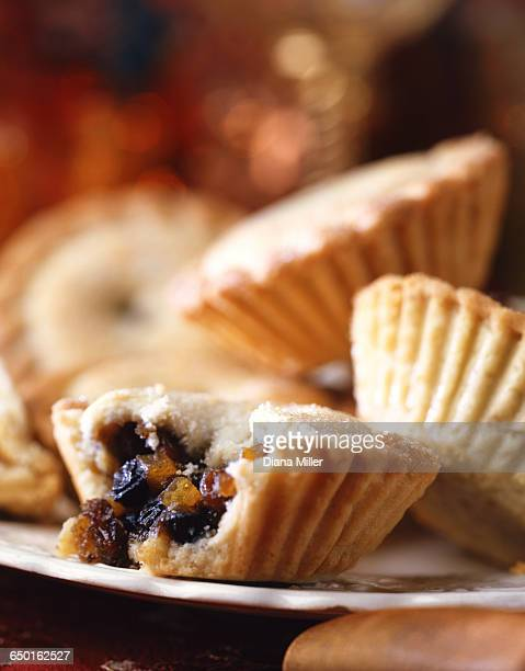 Plate of mince pies, missing bite