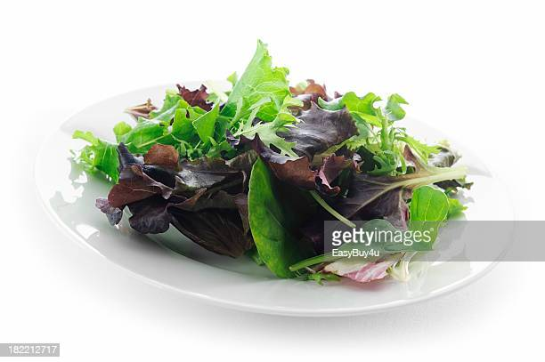 plate of mixed lettuce - leaf lettuce stock pictures, royalty-free photos & images