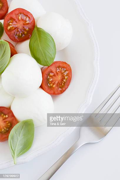 plate of mozzarella, tomatoes and basil - mozzarella stock photos and pictures