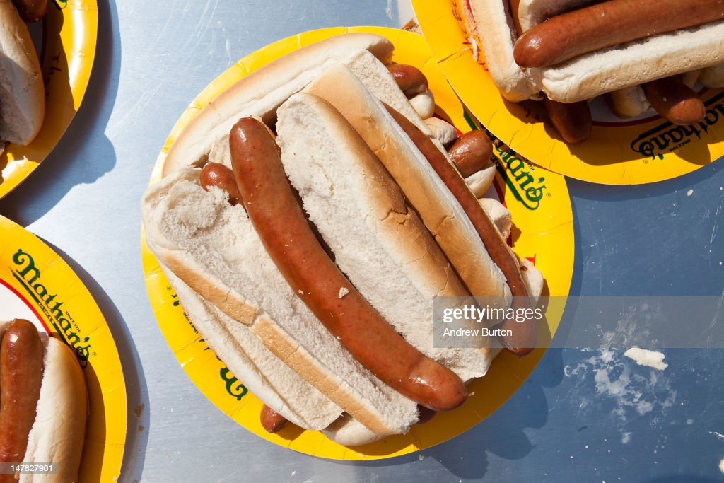 A plate of Nathan's hot dogs are seen prior to the Nathan's Famous International Hot Dog Eating Contest at Coney Island on July 4, 2012 in the Brooklyn borough of New York City. Joey Chestnut won the men's division by successfully tying his own world record by eating 68 hot dogs in 10 minutes; he has now won the competition six years in a row.