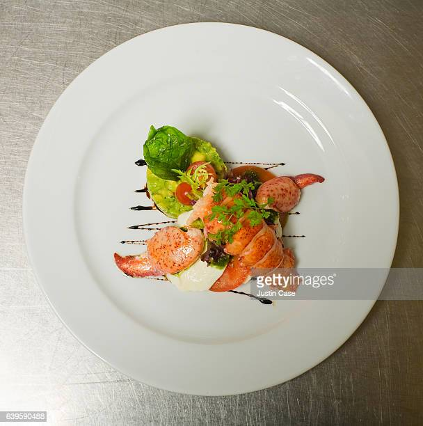 Plate of nicely cooked organic lobster arranged on vegetables
