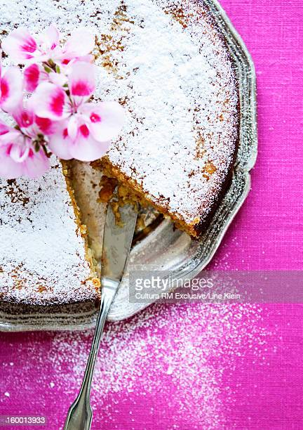 plate of nut cake with flowers - klein stock pictures, royalty-free photos & images