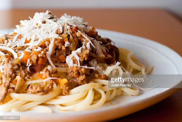 Plate of pasta with bolognese sauce