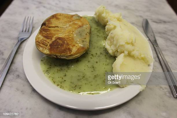 A plate of pie mash and liquor in MManze the oldest trading eel and pie house on February 25 2011 in London England The business which simply serves...
