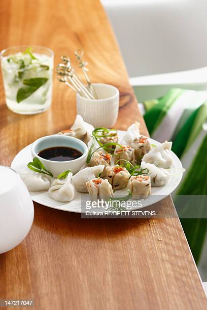 Plate of potstickers and dumplings