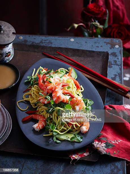 Plate of prawns and noodles