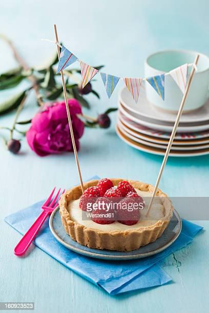 Plate of raspberry tart with vanilla cream