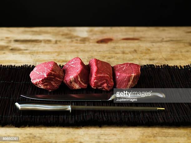 Plate of raw filet mignon