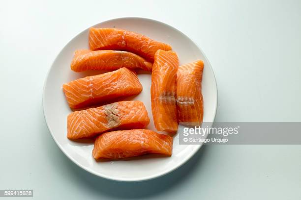 Plate of raw salmon