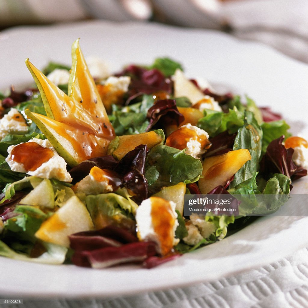Plate of salad and vegetables, close-up, part of : Stock Photo