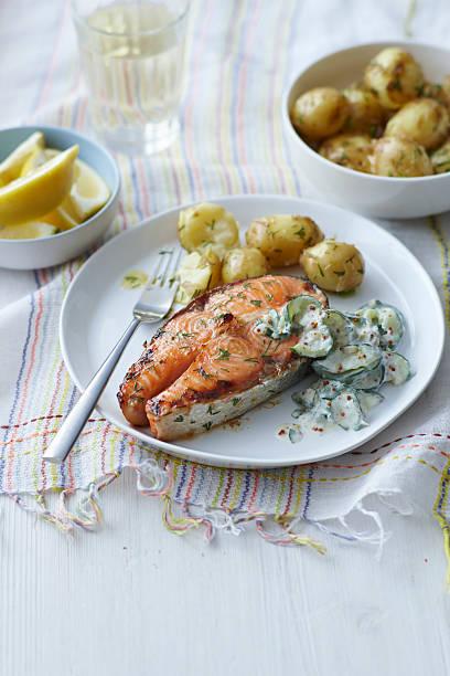 Plate Of Salmon, Potatoes And Salad Wall Art