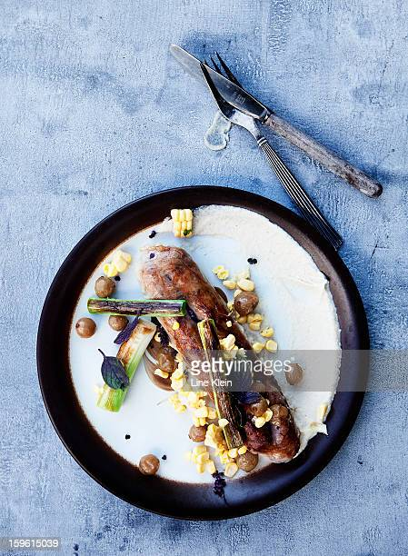 Plate of sausage and corn