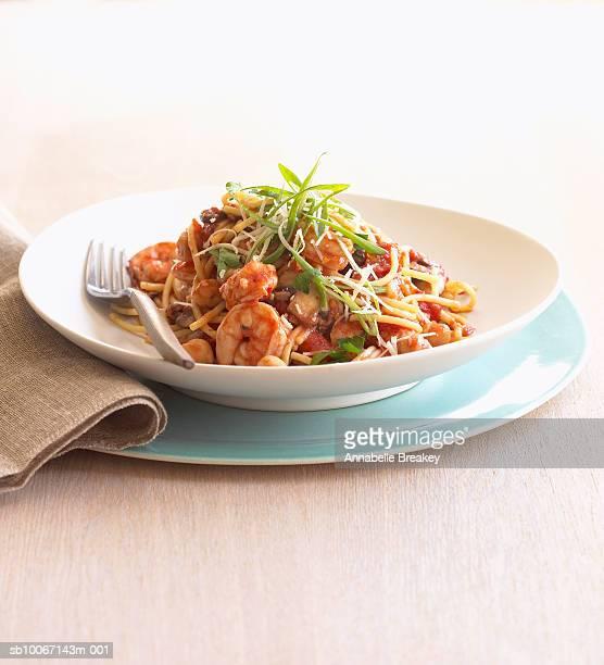 Plate of shrimp pasta