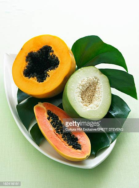 Plate of sliced tropical fruit