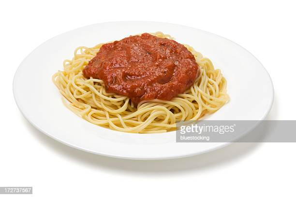 Plate of spaghetti with red sauce on a white plate